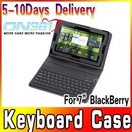"New Wireless Bluetooth Keyboard & PU Leather Case for 7"" BlackBerry Playbook Tablet PC Free Shipping"