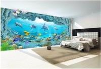 3d photo wallpaper on a wall Sea world dolphin aquarium home decor living room background 3d wall murals wallpaper for walls 3 d