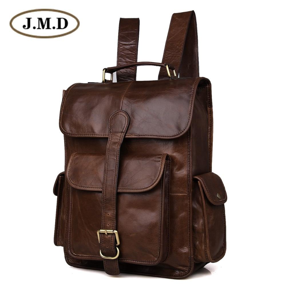 J.M.D 100% Genuine Leather Vintage Laptop Backpack Weekend Bag 7283C-1 simline vintage 100