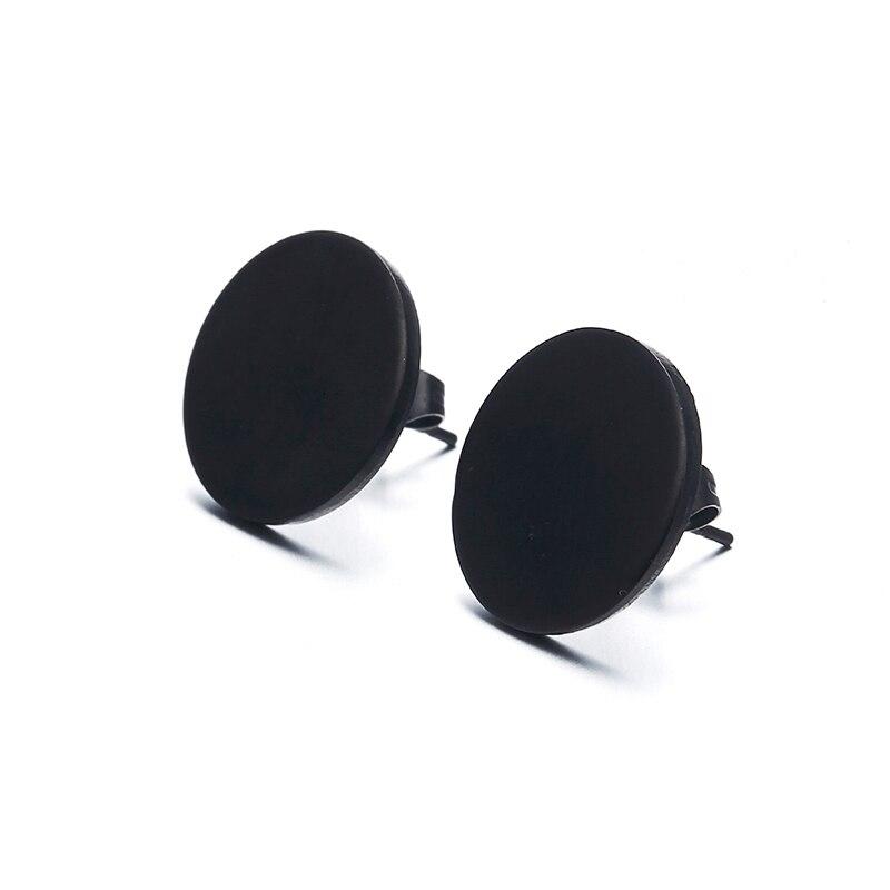 Round stainless steel Earring butterfly closure with push black Earrings fashion round punk earrings Women Men earrings e0296