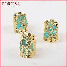 BOROSA Elegant Natural 100% Blue Stone Gold Band Ring, Wholesale New Drusy Natural Stone Rings Jewelry for Party as gifts G1284 notebook stone by stone a6 100 100