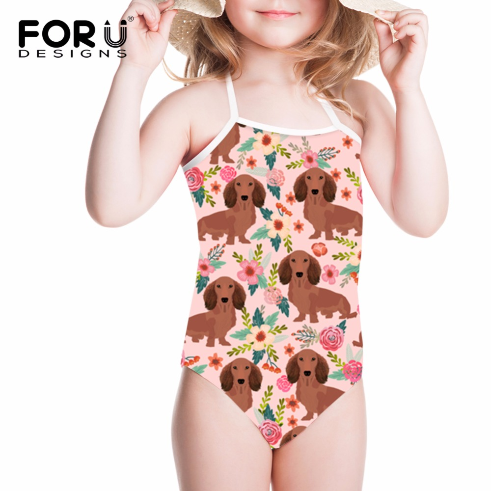 FORUDESIGNS Swimwear Children Swimsuit Dachshund Dog Printed One-piece Suits Swimming Suit for Girls Bathing Suit Kids Beachwear forudesigns one piece swimsuit for girls children swimwear friuts strawberry printing bathing suit baby bikinis kids swim suits