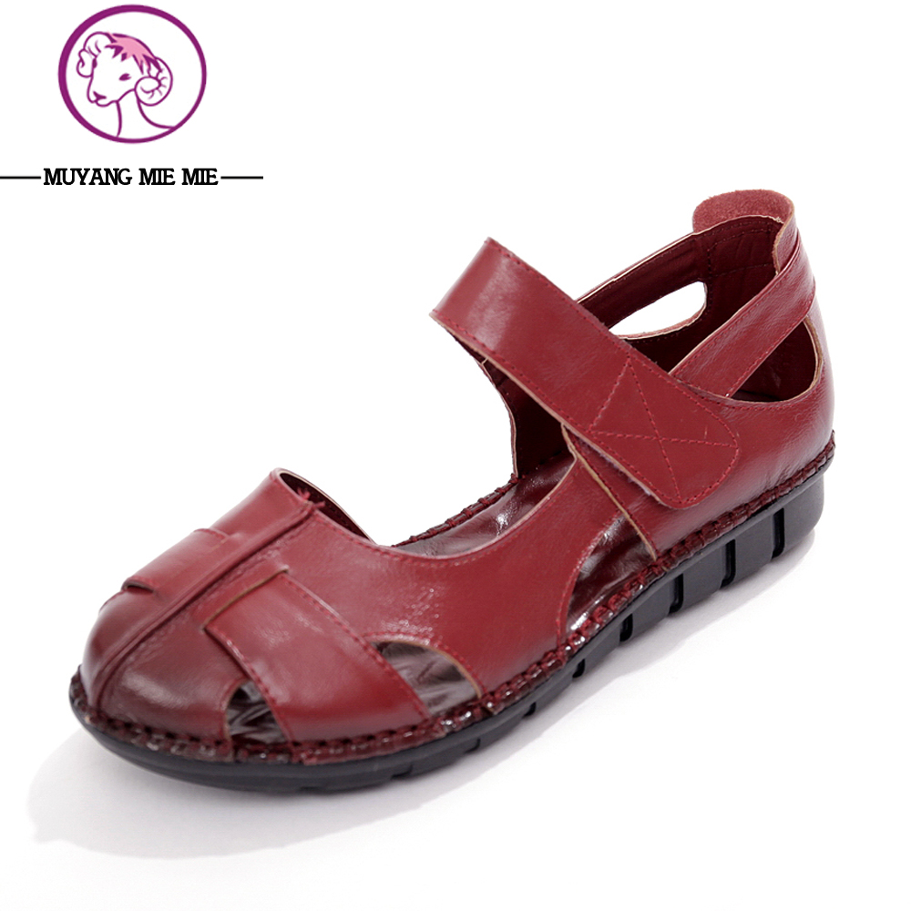 Skate shoes price - Muyang Leather Summer Sandals Soft Coat Shoes To Open The Toes Female Sandals Flat Feet With
