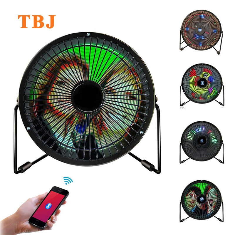 Mini USB Bluetooth Full Color Digital Message Display Table Led Fan iOS & Android Phone APP Fan image