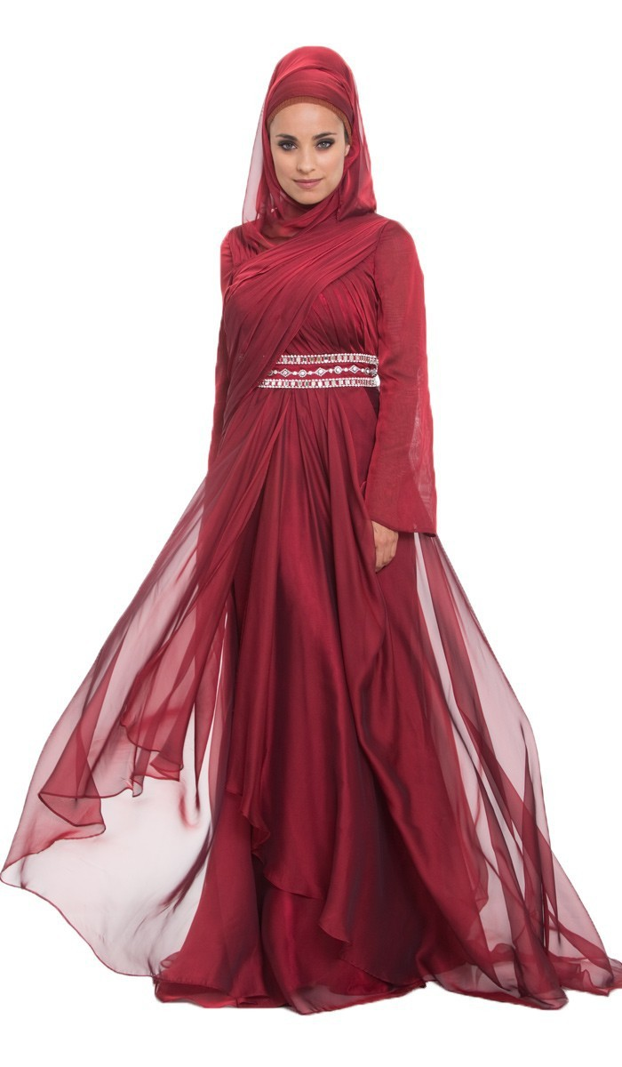 Cecelle 2016 muslim Burgundy islamic Modest Evening Dresses font b hijab b font wraps long sleeves
