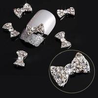 10PCS NEW Fashion Nice Hot Sale 3D DIY Shiny Crystal Bowknot Bow Nail Art Glitters Decoration Manicure Tips Nail Accessories Nail Decorations