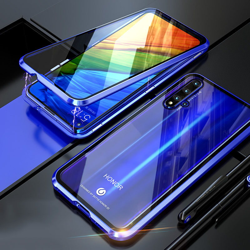 For Huawei honor 20 Pro Cover Magnetic Case 360 Front+Back 9H Tempered Glass Case for honor 20 Pro Metal Bumper Shockproof image