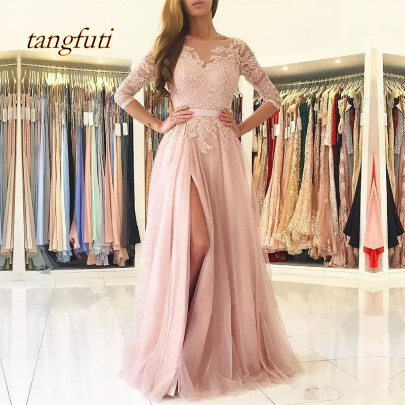 Blush   Evening     Dresses   Long Formal   Evening   Half Sleeve Tulle Lace Women   Evening   Party Prom Gown   Evening     Dress   Wear Robe De Soiree