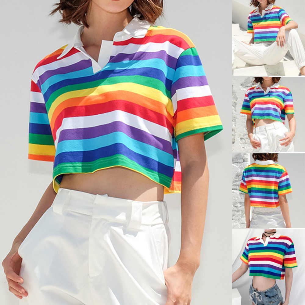 Turn-down collar manga curta arco-íris listrado impressão tshirt coreano roupas para mulheres camisetas moda 2018 das mulheres