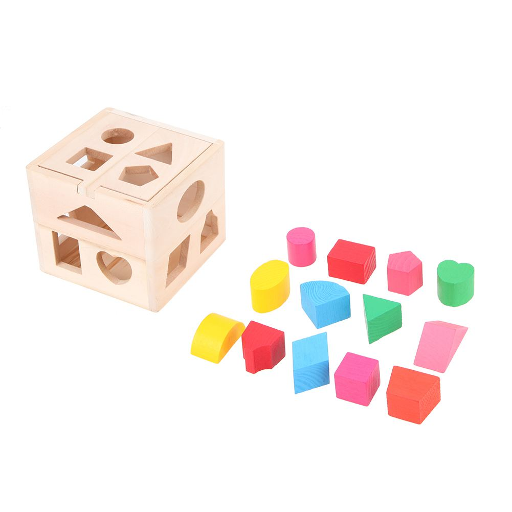 FBIL-Wooden Shape Sorter 13 Holes Geometric Sorting Box Intelligence Shape Color Recognition Developmental Toy For Kids 13 holes baby color recognition intelligence toys bricks wooden shape sorter cube cognitive and matching blocks for children