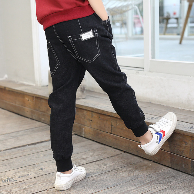43f0a592d 2018 New Fashion Solid Boys Jeans Cotton Elastic Waist Kids Pants Brief  Active Cozy European And