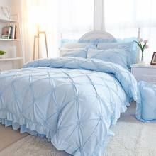 4/6pcs Pinch Pleat Princess Duvet Cover King Queen Size Solid Color Bedding Sets Cotton Blue Bedspreads Bed Sheet Pillowcases(China)