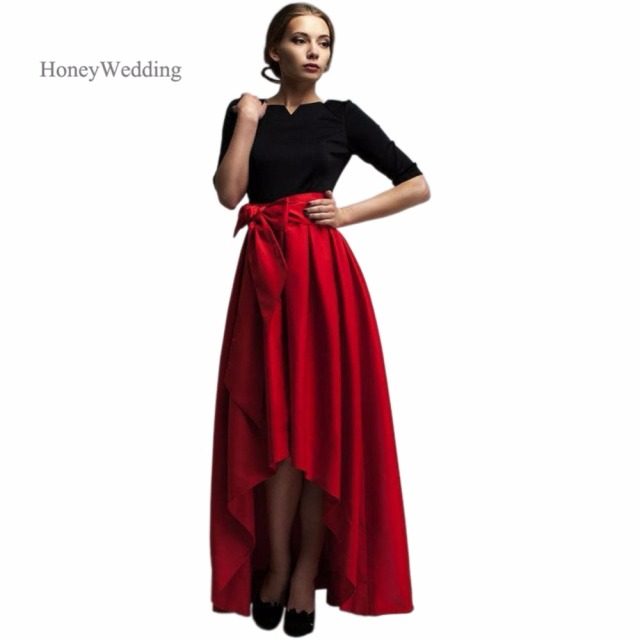 aab1667b1a3 Fashion High Low Red Satin Womens Skirts Short Front Long Back Pleated With  Bowknot Winter Adults Maxi Skirt Jupe Longue
