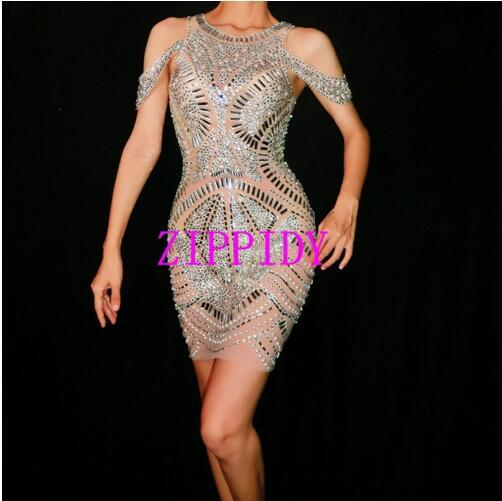 Sparkly silver crystal mesh dress women birthday celebrate sexy perspective dress stage dance costume one-piece mini short dress