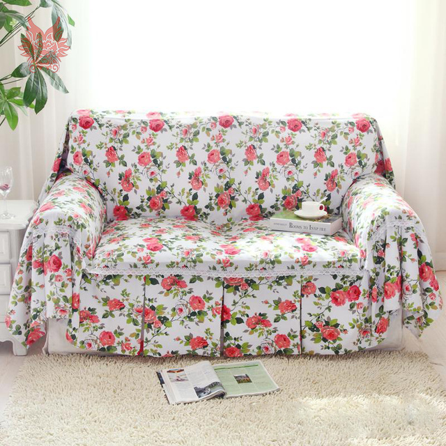 Gentil American Style Thick Cotton Canvas Sofa Cover Pastoral Red Floral Slipcovers  For Top Fashion Sofa Canape