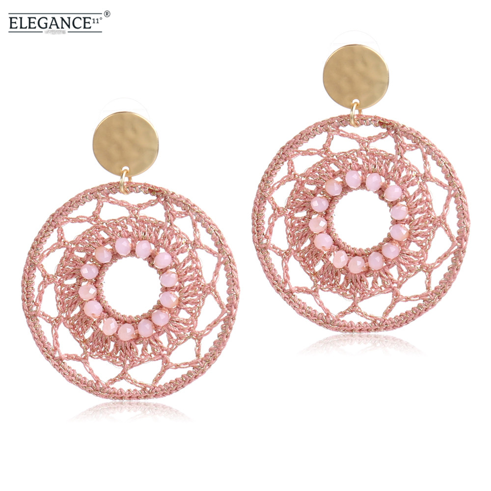 ELEGANCE11 Handmade Crochet Big Earrings Bohemian Hollow Round Drop Earrings for Women Fashion Dangling Earrings