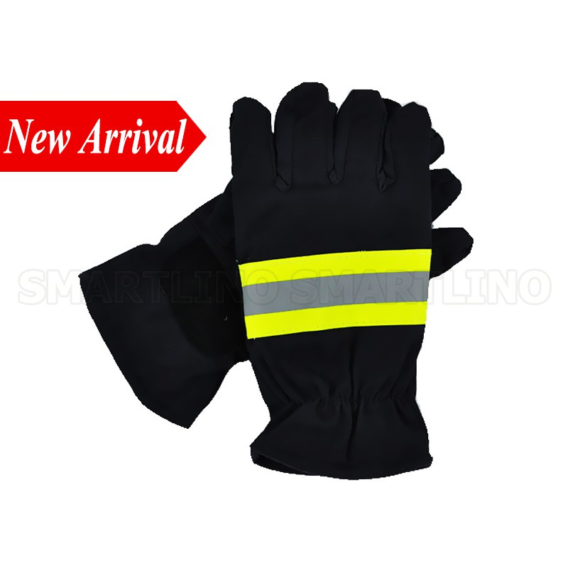 Back To Search Resultshome Considerate Black Firefighters Hand Protective Safety Gloves Fire Rescue Flame Retardant Working Gloves With Reflective Material Tape