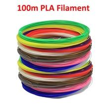 3D baskı kalemi Filament 100m PLA 20 renk 5m her renk için 1.75mm çap 3D yazıcı yeşil çevre koruma malzemesi