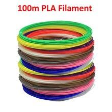 Filamento de bolígrafo de impresión 3D, 100m, PLA, 20 colores, 5m cada color, 1,75 3D mm de diámetro para impresora, Material de protección ambiental verde
