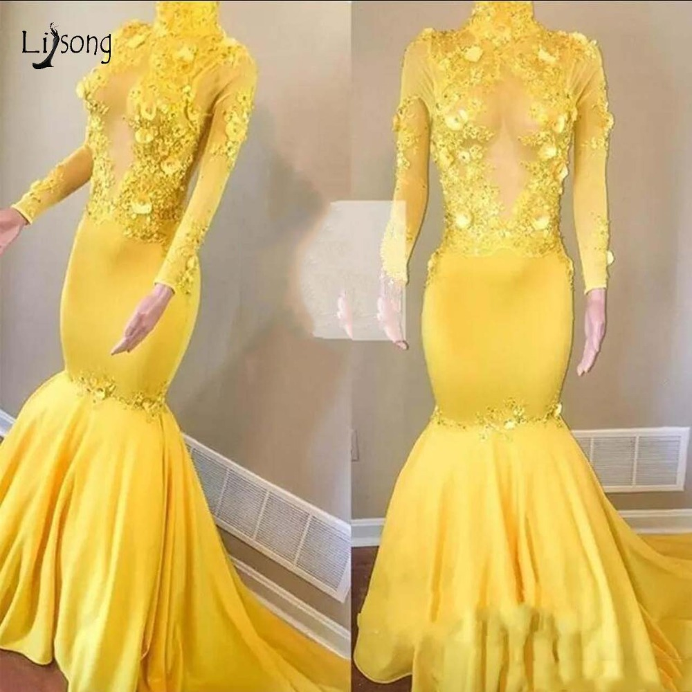 Yellow Sexy Mermaid Lace Prom Dresses Full Sleeves 3D Flower Newest African Elastic Prom Gowns Long Aso Ebi Evening Gowns