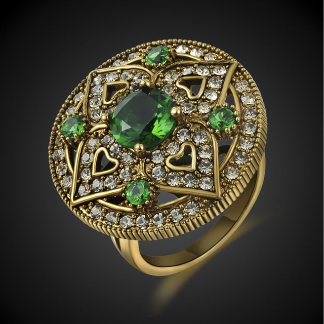 Maud-Gold-Color-Green-Cubic-Zirconia-Vintage-Ring