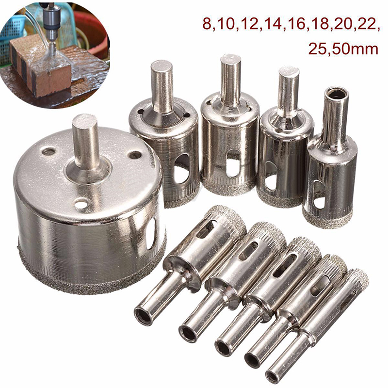 10pcs Diamond Hole Saw Marble Drill Bit Set 8/10/12/14/16/18/20/22/25/50mm For Tile Ceramic Glass Granite Drilling