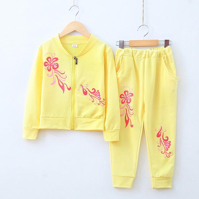 Nova outono adolescente menina roupas define meninas do bebê linda flor doce cor sports suits crianças de jogging de algodão crianças conjunto de roupas