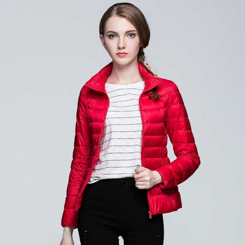 2018 fashion women keep warm Super light thin 90% White duck   down   jacket/femininity Stand collar Large size   down     coat