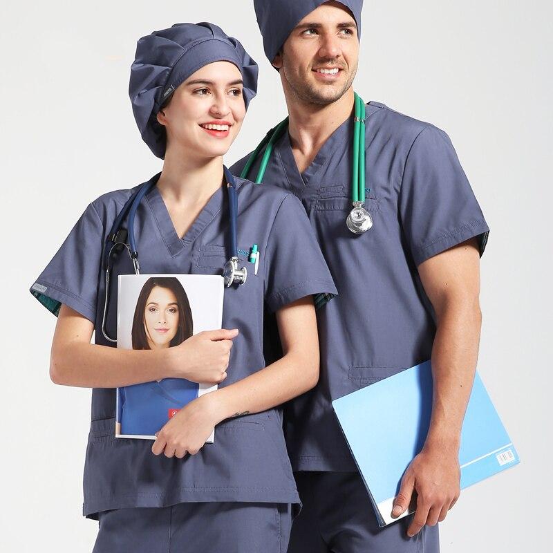 Nurse Uniform Women Men Scrubs Set Medical Scrub Hospital Workwear Solid Color Infinity V Neck Dentist Doctor Nurses Uniforms