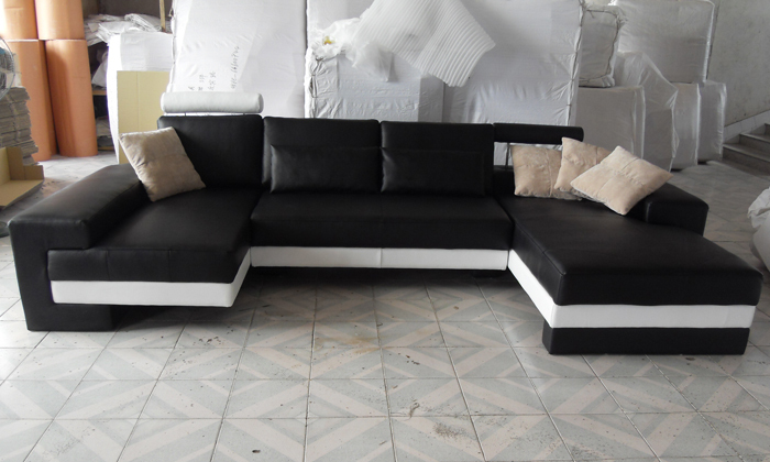 Sofa Free Shipping 2015 New Modern Design Large Size Sofa U Shaped Couches Real Leather Corner