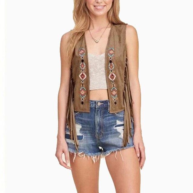 Women Vintage Vests Suede Waistcoat Fashion V-Neck Sleeveless Tassel Jacket Ladies Autumn Brand Quality Brown Black Short Vest