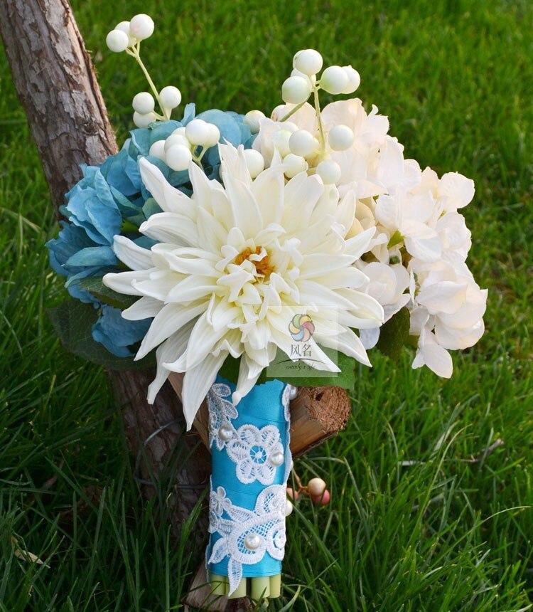 Fleur artificielle faite à la main fleur de mariage bouquet de mariée PU blanc bleu dahlia guelder
