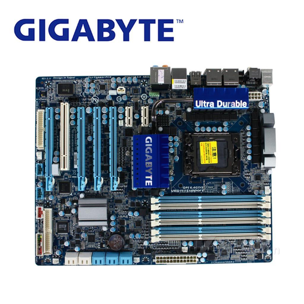 LGA 1366 For Intel X58 Gigabyte GA-X58A-UD3R Motherboard DDR3 USB3.0 24GB SATA III X58A UD3R Desktop Mainboard Systemboard Used