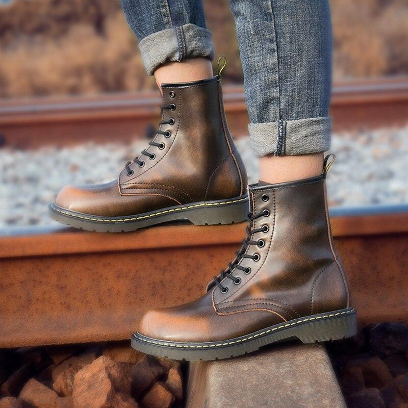 07f66577105a23 Hommes Moto Mâle Tailles Black brown gray Pour Sécurité Bottes Vache  Chaussures Grandes red Croûte En ...
