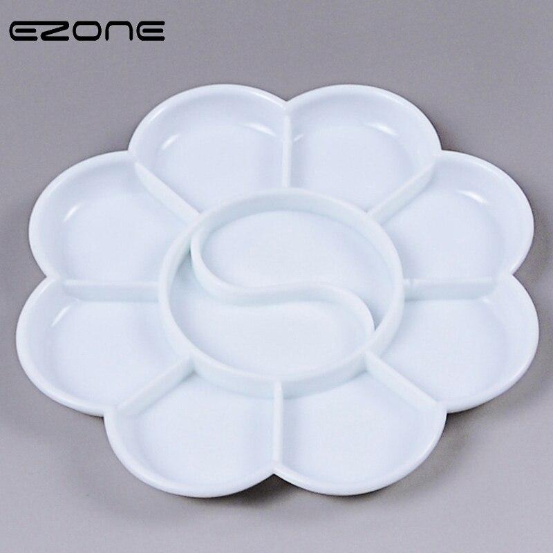 EZONE 10 Holes Color Palette Design Of  Plum Blossom Shape Acrylic Gouache Watercolor Paint Plastic Palette Students Stationery