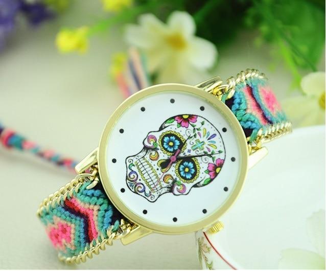 Women watch mexican skull woman dress wristwatch fashion - Relojes de pared retro ...