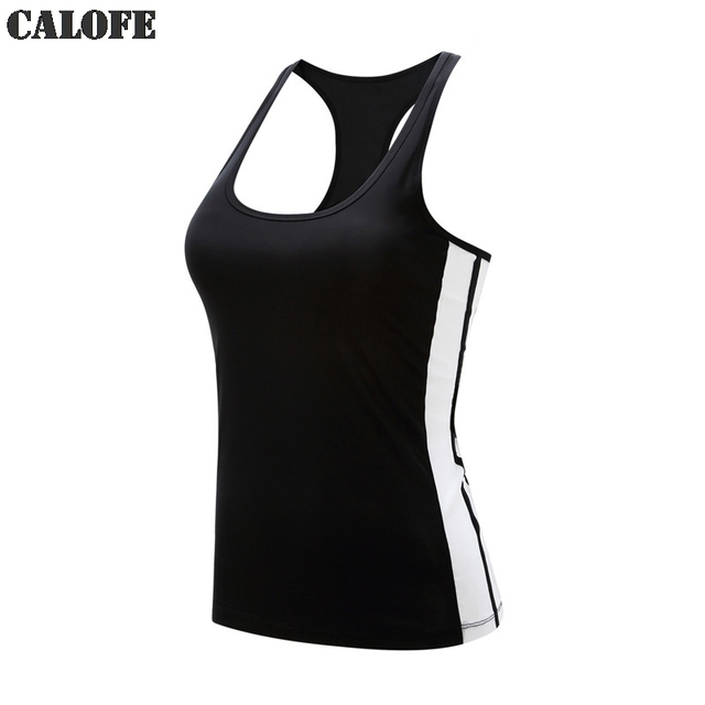 sale retailer e3fa7 be79b CALOFE Sport Yoga Shirts Women Vests Sleeveless Running Tank Tops Patchwork  Slim Quick Dry Gym Jerseys Fitness Undershirts Z30