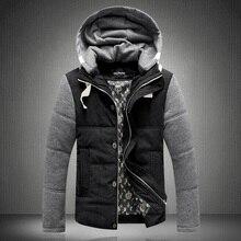 Бесплатная Доставка!! 2014 мода куртки мужские зимние пальто с капюшоном лоскутное воротник мужской хлопка мягкой верхней одежды NOP.546 P115