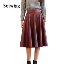 SETWIGG Spring Synthetic Leather Midi Skirts 63cm Women's Street Fashion Black/Burgundy PU Leather Knee Length Flare Punk Skirt