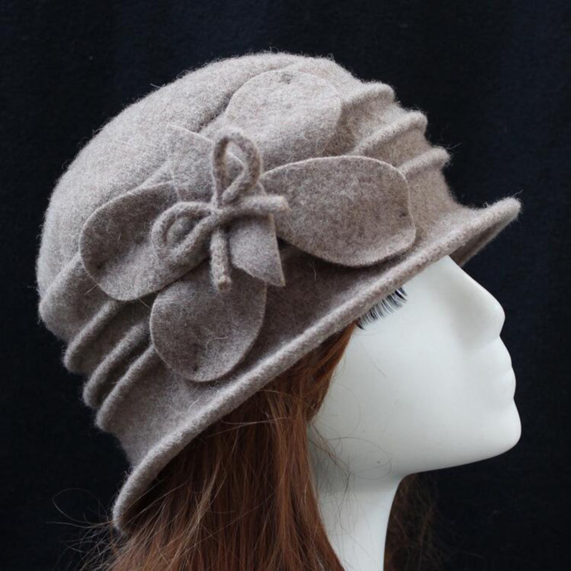 Winter Women Hats   Beanies   Cloche Ladies 100% Wool Cap Bucket Floral Warm Hats for Women Bonnet Femme   Skullies     Beanies   Female Cap