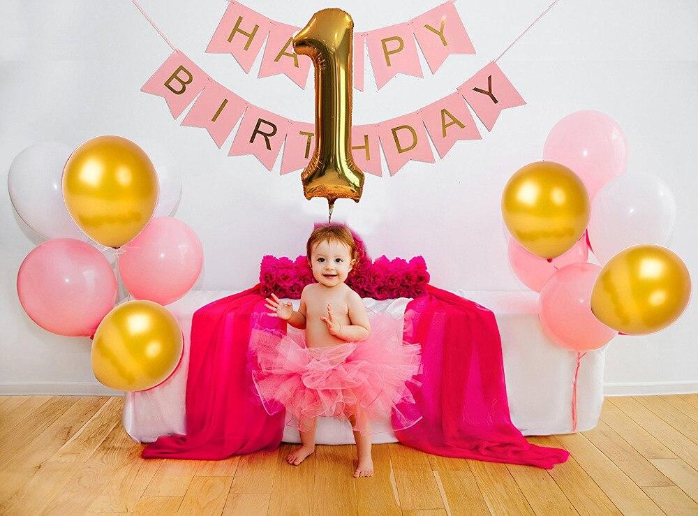 JOY ENLIFE 1st Birthday Decor Party Pastel ballon Boy Girl Happy