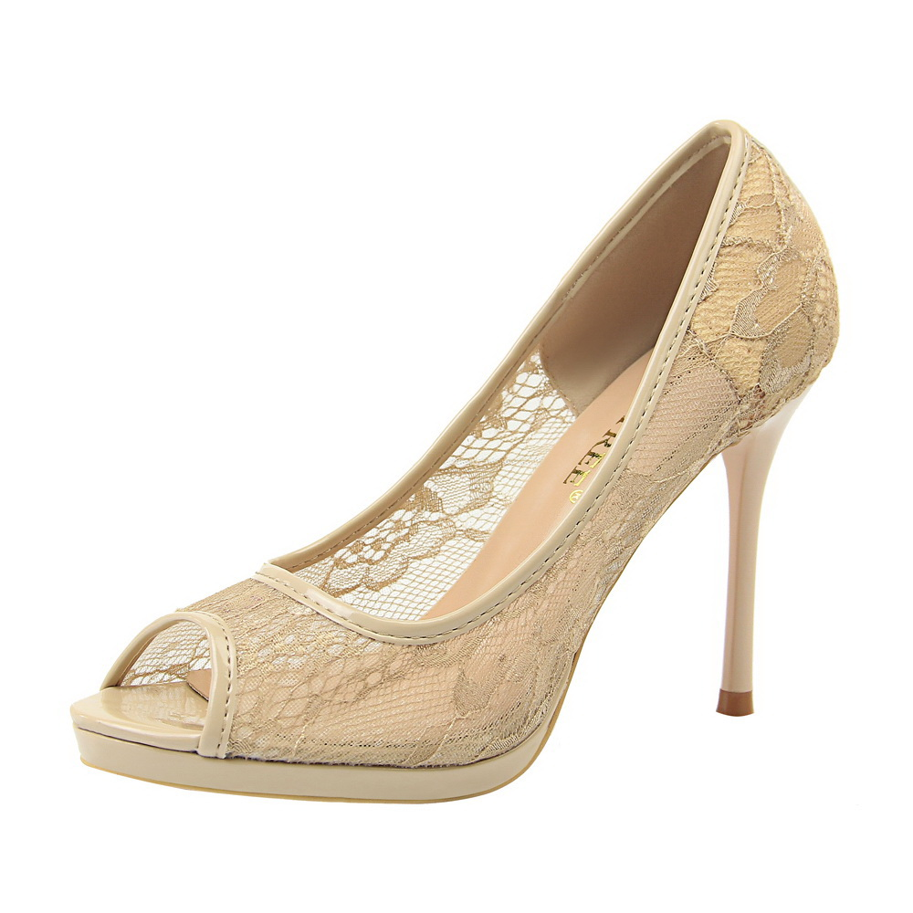 New Lace Woman Pumps High Heels Sandals Women Peep Toe Shallow Embroider Woman Shoes Sexy Party Wedding Ladies Shoes G0057