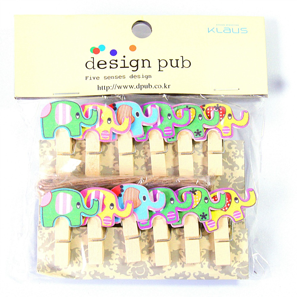 Office Binding Supplies Clips Hearty 10 Pcs/lot Kawaii Cartoon Elephant Wooden Clip Photo Paper Clothespin Craft Clips Party Decoration Clip With Hemp Rope Making Things Convenient For Customers