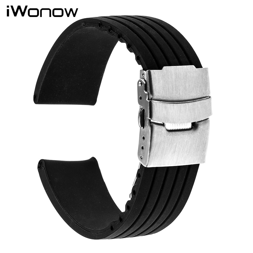 Silicone Rubber Watch Band 22mm for Samsung Gear S3 Classic / Frontier Stainless Safety Buckle Strap Wrist Belt Bracelet Black 22mm silicone rubber watch band for samsung gear s3 classic frontier stainless steel buckle strap wrist belt bracelet black