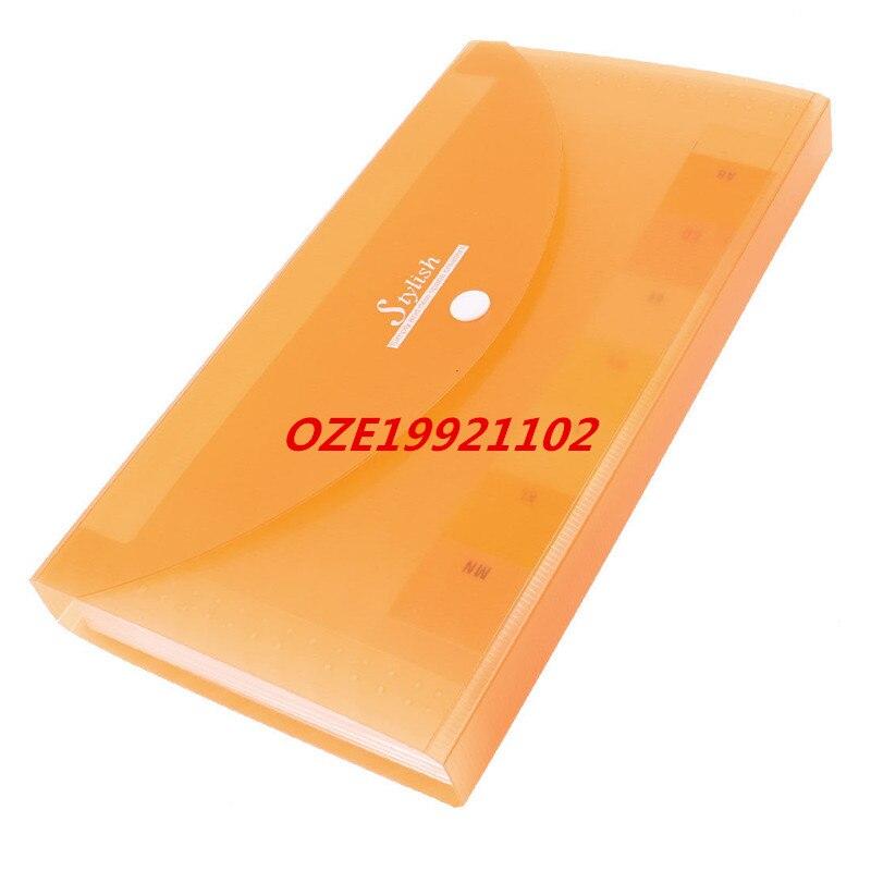 1PCS Clear Orange Plastic Shell Button Closure 13 Page Letters Paper File Folder