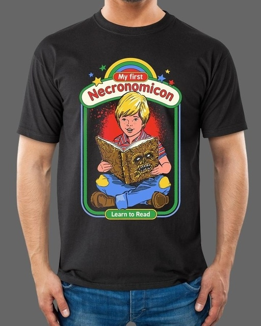 5ed77b337b1a PUDO XHM 70s Vintage My First Necronomicon Illustration Unisex Funny T-Shirt  Nostalgia Horror Movies