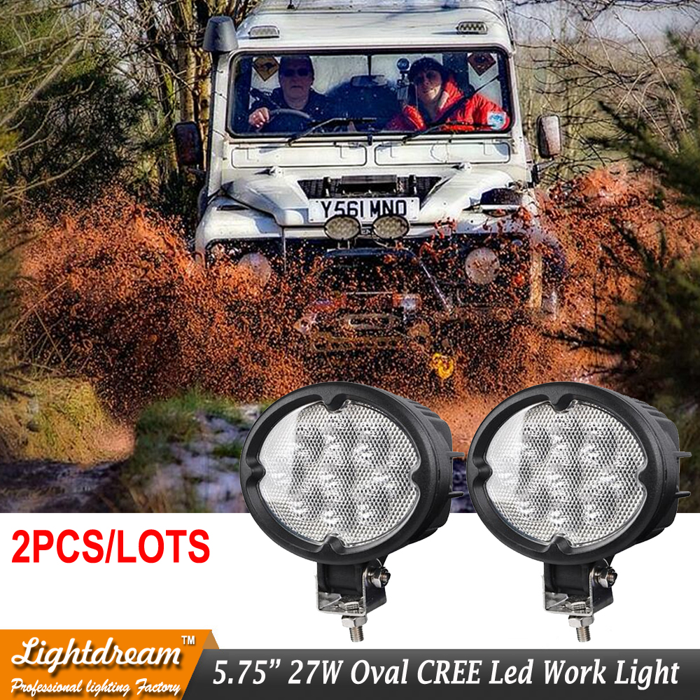 27W Oval LED Work Light Offroad Car Auto Truck ATV Motorcycle Trailer Bicycle 4WD 4x4 Fog Lamp Driving Headlight Spot Flood x2pc