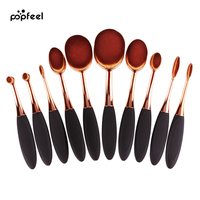 Popfeel 10ピースpincelオーバル歯ブラシソフトメイクブラシセットプロフェッショナルローズゴールド財団ブラシセットを構成するブラシ