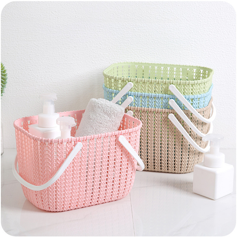 News Plastic Weaving Rattan Office Basket Multifunctional Bathroom Shower Storage Debris Organizer With Handle