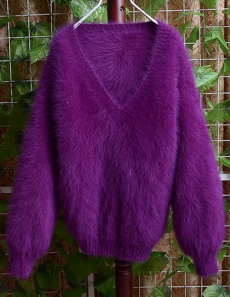 The new lady Plush Mink Collar Pullover Sweater V mink cashmere tailored free shipping J54